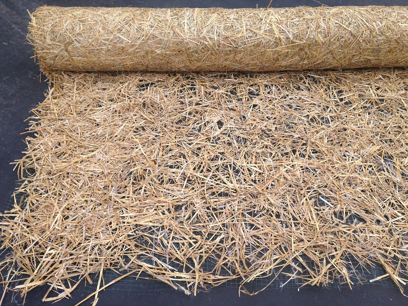 Straw Blanket Rolled Out Close Up