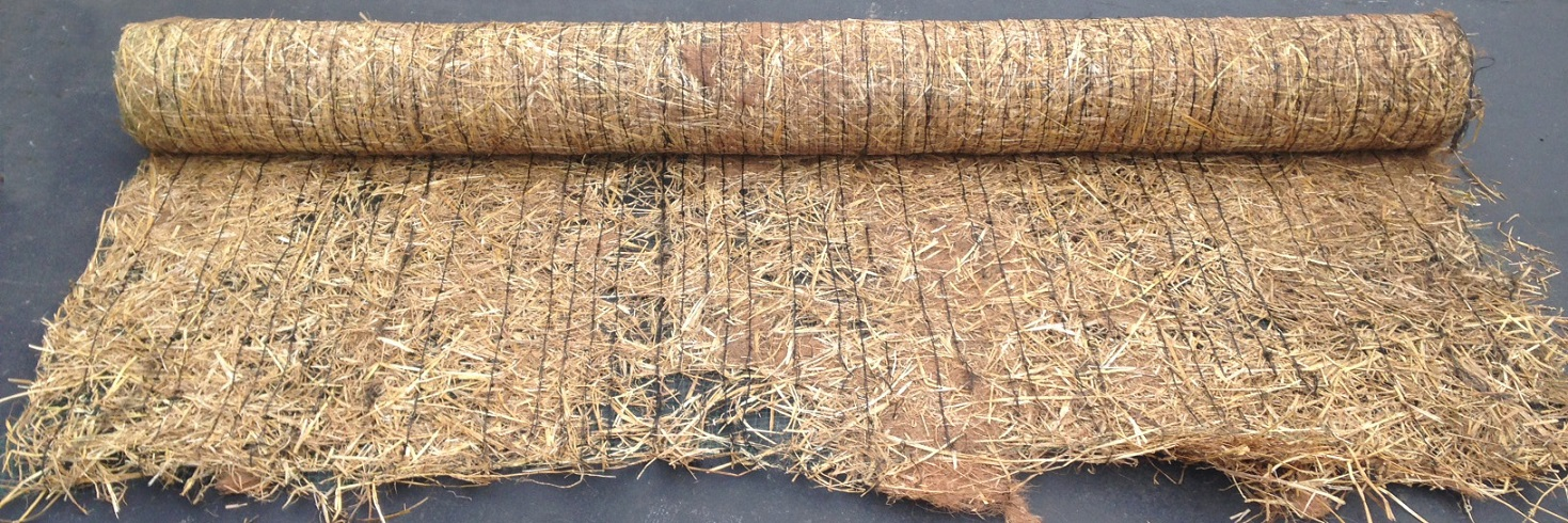 Straw Coconut Blanket Rolled Down