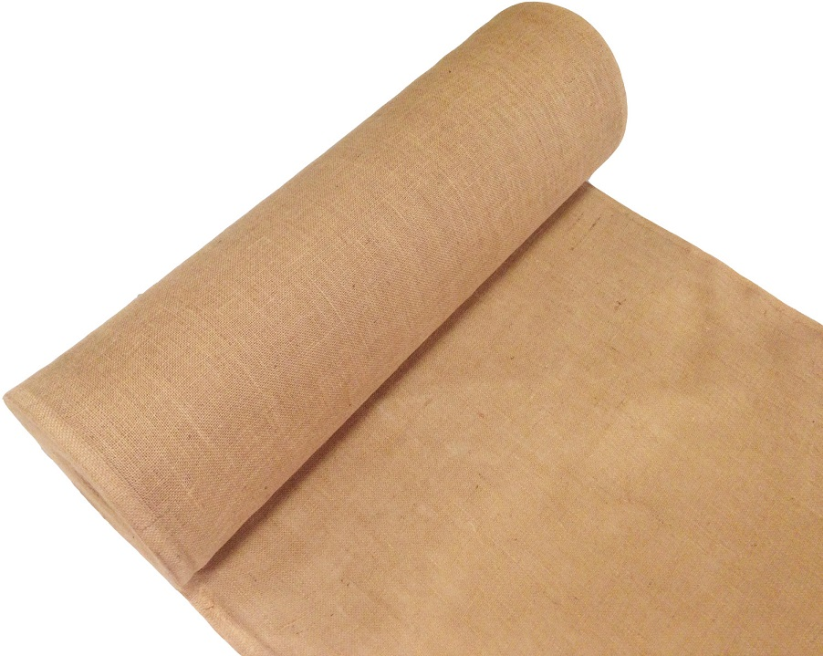 Burlap Fabric Unrolled to the Side