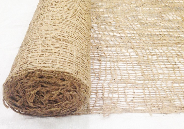 Jute Netting Rolled to the Side