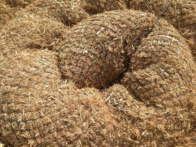 Coiled Straw Wattles Up Close